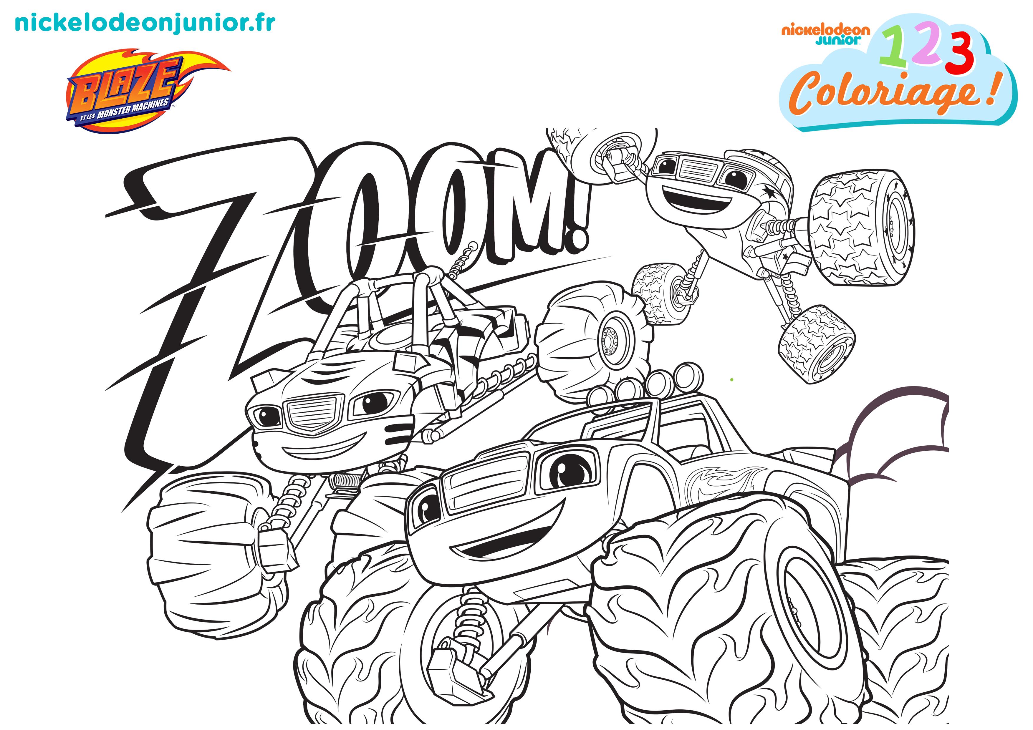 1 2 3 Coloriage Blaze Et Les Monster Machines A Toute Vitesse