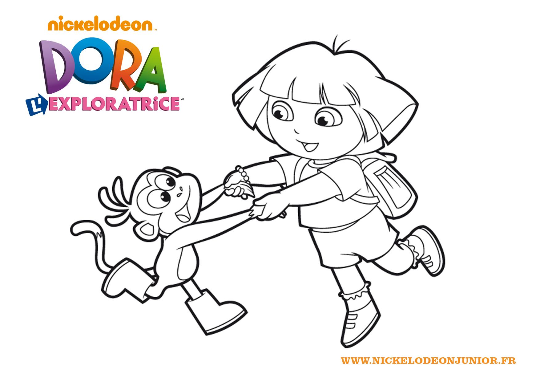Babouche et dora se tiennent la main - Coloriage dora princesse ...