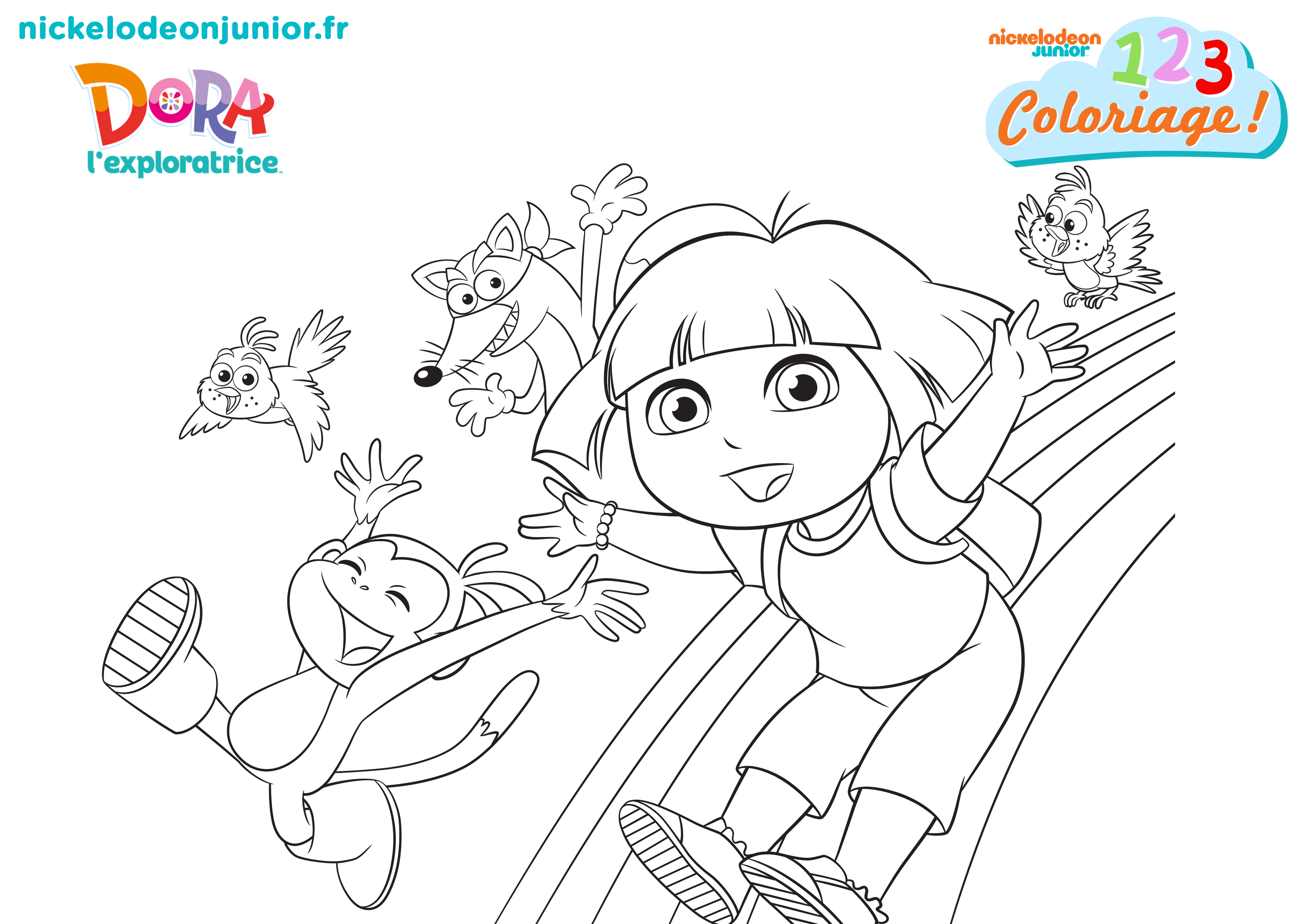 1 2 3 coloriage dora l exploratrice super rainbow